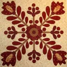 Red & Cream Vintage Berry Blossoms Block by Kim Diehl