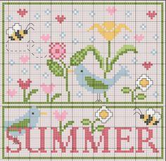 summer cross stitch free pattern