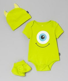 Take a look at this Green Monsters University Booties Set - Infant by Disney on #zulily today!