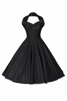 Vivien of Holloway - Vivien of Holloway - 1950s Retro halter luxury Black Satin Lace swing dress € 169,95