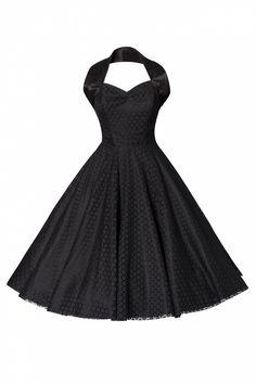 #topvintage Vivien of Holloway - 1950s Retro halter luxury Black Satin Lace swing dress