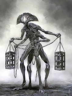12 Zodiac Signs Reborn As Horrifying Monsters Imagined By Damon Hellandbrand - somewhere between H.R. Giger and Guilllermo del Toro