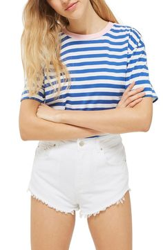 There's no such thing as too much leg when the sun is hot and the waves are calling in these high-waist jean shorts with a high angled cutoff hem.