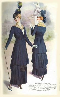 1915 fashion plate, from an English diary, skirts shorter end of year