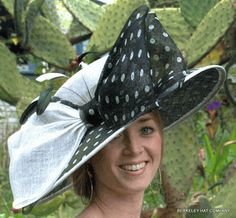Spectator Polkadot Derby Hat in Sinamay Straw.....on my bucket list to go to the Kentucky Derby