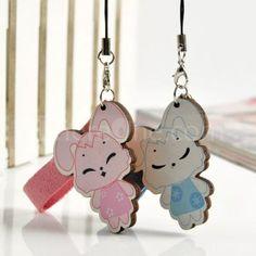 bunny couple phone pendant