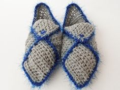Grey & Sparkling Blue Crocheted Slippers Crocheted Slippers, Gloves, Sparkle, Grey, Winter, Blue, Fashion, Knit Slippers, Gray