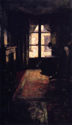 Lesser Ury (German, 1861-1931), Parisian Interior, 1881. / so dark!