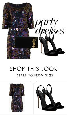 ParTy DreSSeS by connieimageconsultant on Polyvore featuring moda, Giuseppe Zanotti and Yves Saint Laurent