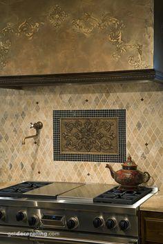Backsplash With Mosaic Border Limestone Field Tile