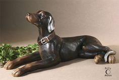 Uttermost Resting Dog Aged Black Statue