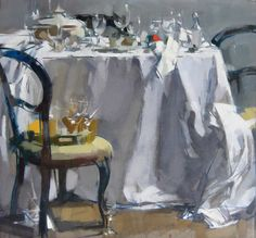"""◇ Artful Interiors ◇ paintings of beautiful rooms - Maggie Siner  """"Table, Chair and Tray"""""""