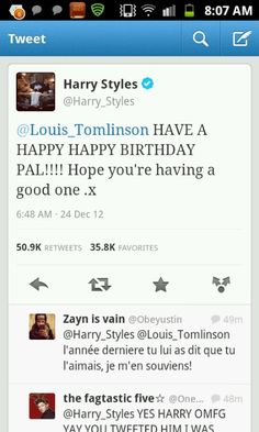 Harry to Louis. And yes, he is back in England, without Taylor in sight! Happy Birthday Louis!