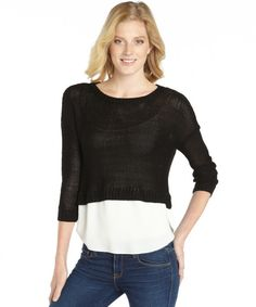 ee40f3b5097280 Wyatt black and white stretch cable knit 3 4 sleeve sweater White Sweaters