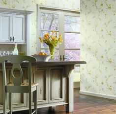 """A designer kitchen with wallpaper from Antonina Vella """"Floral Silhouette Trail"""" at http://lelandswallpaper.com.  Width: 27 in, Repeat: 25.25 in, unpasted, washable, strippable. $86.99 per single roll"""