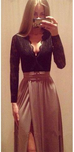 Black Beige Scallop Lace Long Sleeve Plunge V Neck Bow Waist Wrap Slit Two Piece Maxi Dress