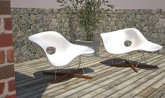 Eames La Chaise fiberglass lounge chairs