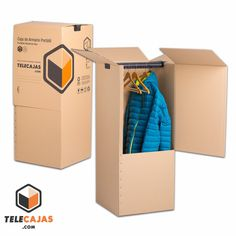 Caja de cartón de mudanza armario portatil (http://www.telecajas.com) #cajasdecarton #cajasdemudanza #mudanza #telecajas