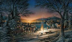 """Terry Redlin Anniversary Handsigned & Numbered Limited Edition Christmas Print:""""Heartland Lights"""" Artist:Terry Redlin Title Heartland Lights Edition: Special Limited Edition Hand-Signed and Number to only 960 (Nine Hundred and Sixty) Image size: x Terry Redlin, Most Popular Artists, Lights Artist, Country Art, Country Life, Country Living, Country Roads, Winter Photos, Christmas Art"""