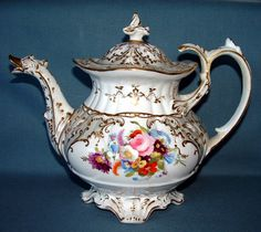 Teapot with Floral Design and Duck Head Spout