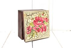 Tea Box Decoupage Kitchen Red Decor  Poppy by SelenarteDecoupage, £24.00