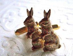 Bunny profile cuff links