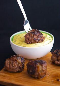 5 Napkin Meatballs with Rosemary Aioli