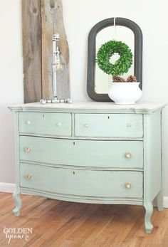 Learn how to custom mix milk paint colors and do a white wash top from my helpful techniques I learned from this beautiful mint dresser.