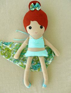 Fabric Doll Rag Doll Girl in Aqua Bathing Suit and Floral Sarong