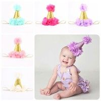Wish | Lovely Gifts Party Infant Hair Band Flower Headband Gold Crown Hat Baby Birthday Headwear