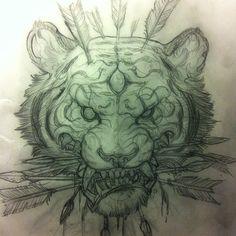 japanese tattoos symbols and meaning Body Art Tattoos, New Tattoos, Sleeve Tattoos, Tattoo Sketches, Tattoo Drawings, Tattoo Illustrations, Tatoo Tiger, Japanese Tattoo Designs, Japanese Tattoos