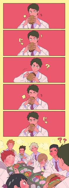 Haradorii SC 1 and Ryou always sturggles eating burgers and sandwiches, but everyone finds him so cute. This was when they had a swim club reunion. Haikyuu Ushijima, Ushijima Wakatoshi, Haikyuu Karasuno, Iwaoi, Kagehina, Haikyuu Manga, Haikyuu Funny, Haikyuu Fanart, Hinata