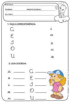 A Arte de Ensinar e Aprender: Atividades prontas - Vogais cursivas