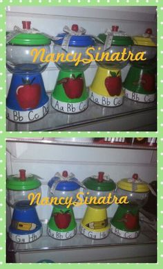School teacher gumball jars hand painted  art made by Nancy Sinatra 2015.