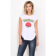 Pokemon Poke Ball Knit Tank ($3) ❤ liked on Polyvore featuring tops, white, graphic tank tops, white graphic tank top, white tank, stitch tank top and white singlet