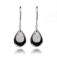 Sterling Silver And Black Ceramic Teardrop Drop Earrings Wholesale China