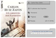 Livros e marcadores: O Labirinto dos Espíritos de Carlos Ruiz Zafón