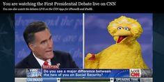 #debates #Romney #bigbird Debate Memes, First Presidential Debate, Big Bird, Latest Video, Horses, Horse