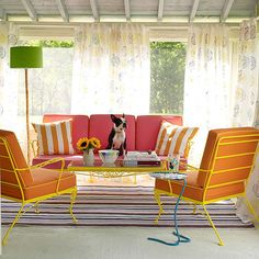 Hot pink, bright orange, and sunny yellow? Yes, please! More ideas for outdoor furniture: http://www.bhg.com/home-improvement/porch/outdoor-rooms/outdoor-furniture-and-fabric-ideas/?socsrc=bhgpin041513colorfulpatio=4