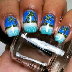 Beachy sands and palm tree summer nailart #nailart #nails #summer #blue #green #beach #sand #water #palmtree