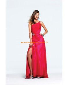 Rouge incarnadine robe simple pas cher asymétrique robe de soirée 2013 mousseline