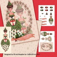 Vintage Holly Fairy Yule & Christmas Card Decoupage Mini Kit - A modern remake of a vintage classic, this 5x7 card features a gift bearing holiday fairy in a holly dress with ornaments and a decorated tree for a hat embellished with snowflakes, an amaryllis flower topped gift box and a banner for greetings. #CardMakingKits #CraftsUPrint #LisaMayette #Hafapea