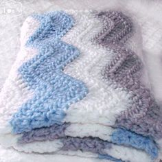 Gray Blue Chevron Blanket Blue Gray Nursery Crochet by puddintoes $60