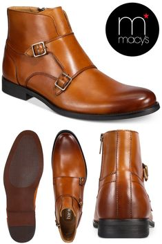 Buy Bar III Men's Harry Double Monk Strap Boot, Created for Macy's. The Bar III uses a double monk strap closure and burnished finish to complete the rich style of these plain-toe leather boots. #fashion #boots #men