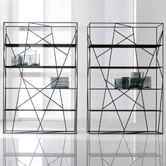 Naviglio double-sided bookcase with metal structure - ARREDACLICK
