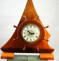 Mid Century Lanshire Sailboat Nautical Electric Mantel Desk Clock #LanshireSessions