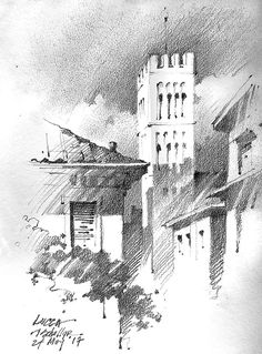 Thomas W Schaller, Lucca - - Pencil Sketches Landscape, Landscape Drawings, Drawing Sketches, Art Drawings, Pencil Drawings, Graphite Art, Nature Drawing, Urban Sketching, Illustrations And Posters