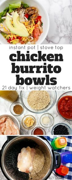 This 21 Day Fix Burrito Bowl recipe is prefect for meal prep day! Cook this Instant Pot Burrito Bowl recipe once and eat all week long! | Weight Watchers Dinner Recipes | Weight Watchers Burrito Bowls | 21 Day Fix Dinner Recipe