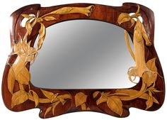 """) French Art Nouveau """"Moonflower"""" Carved Wood Mirror 1904 ::: Elaborate hand carved wood with fruitwood intarsia inlay moonflower blossoms, leaves and vines with openwork details. Art Nouveau Interior, Art Nouveau Furniture, Art Nouveau Design, Design Art, William Morris, Wood Mirror, Wall Mirrors, Mirror Mirror, Mirror Ideas"""