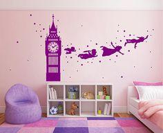 kik2802 Wall Decal Sticker Peter Pan fairy tale of Big Ben room children's bedroom